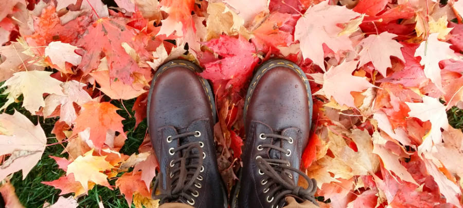 A pair of Dr Martens work boots in leaves