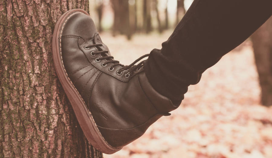 Stretching a pair of boots against a tree