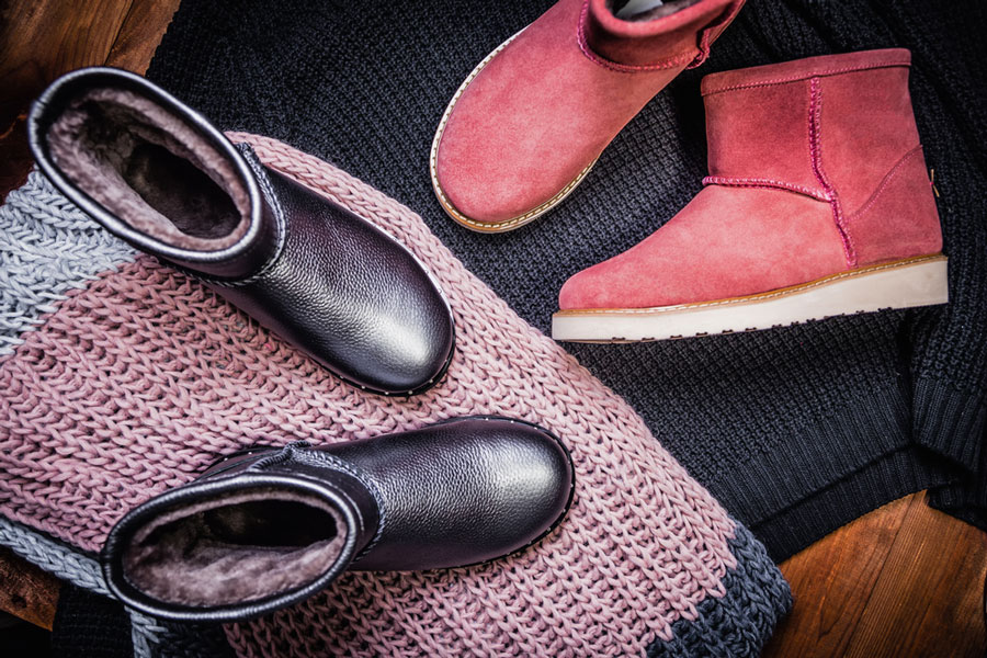 A red UGG boots and a scarf for women